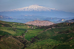 Gangi and volcano Etna horizontal.jpg Stock Images