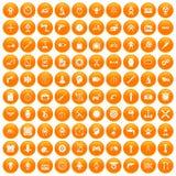 100 Gangikonen orange eingestellt lizenzfreie abbildung