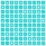 100 Gangikonen stellten Schmutz blau ein Lizenzfreies Stockfoto