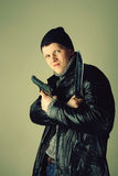 Gangman with knife Royalty Free Stock Photography