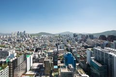 Gangnam顾,汉城都市风景  库存照片