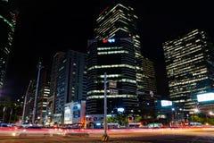 Gangnam,汉城,在晚上 库存图片