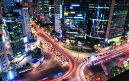 Gangnam Intersection. Traffic speeds through an intersection in Gangnam, Seoul Royalty Free Stock Photos