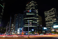 Gangnam, Seoul, alla notte Immagini Stock