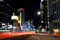 Gangnam Seoul, på natten Royaltyfri Foto