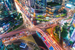 Gangnam Traffic. Traffic speeds through an intersection in the Gangnam district of Seoul Royalty Free Stock Photos