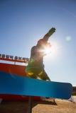GANGNEUNG, COREA DEL SUD - GENNAIO 2017: Snowboarder della statua Fotografia Stock