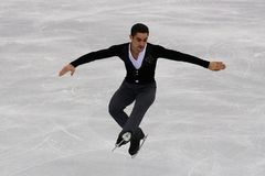 Bronze medalist  Javier Fernandez of Spain performs in the Men Single Skating Short Program at the 2018 Winter Olympic Games. GANGNEUNG, SOUTH KOREA - FEBRUARY Stock Photo