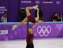 Bronze medalists  Meagan Duhamel and Eric Radford of Canada perform in the Pair Skating Free Skating at the 2018 Winter Olympics. GANGNEUNG, SOUTH KOREA Stock Photo