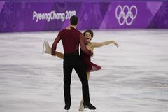 Bronze medalists  Meagan Duhamel and Eric Radford of Canada perform in the Pair Skating Free Skating at the 2018 Winter Olympics. GANGNEUNG, SOUTH KOREA Stock Images