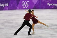 Bronze medalists  Meagan Duhamel and Eric Radford of Canada perform in the Pair Skating Free Skating at the 2018 Winter Olympics. GANGNEUNG, SOUTH KOREA Royalty Free Stock Images