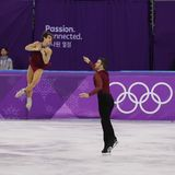 Bronze medalists  Meagan Duhamel and Eric Radford of Canada perform in the Pair Skating Free Skating at the 2018 Winter Olympics. GANGNEUNG, SOUTH KOREA Royalty Free Stock Photo