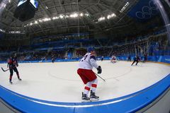 Team Canada in action against Team Czech Republic during Men`s ice hockey preliminary round game at 2018 Winter Olympic Games. GANGNEUNG, SOUTH KOREA - FEBRUARY Stock Photos