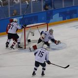Team United States in action against Team Olympic Athlete from Russia Men`s ice hockey preliminary round game at 2018 Olympics. GANGNEUNG, SOUTH KOREA - FEBRUARY Stock Photos