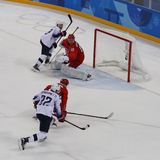 Team United States in action against Team Olympic Athlete from Russia Men`s ice hockey preliminary round game at 2018 Olympics. GANGNEUNG, SOUTH KOREA - FEBRUARY Stock Images