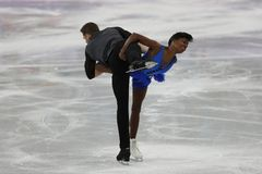Vanessa James and Morgan Cipres of France perform in the Team Event Pair Skating Short Program at the 2018 Winter Olympic Games. GANGNEUNG, SOUTH KOREA Stock Image