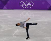 Vincent Zhou of the United States performs in the Men Single Skating Short Program at the 2018 Winter Olympic Games. GANGNEUNG, SOUTH KOREA - FEBRUARY 16, 2018 Royalty Free Stock Photography