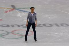 Vincent Zhou of the United States performs in the Men Single Skating Short Program at the 2018 Winter Olympic Games. GANGNEUNG, SOUTH KOREA - FEBRUARY 16, 2018 Stock Photography