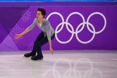 Vincent Zhou of the United States performs in the Men Single Skating Short Program at the 2018 Winter Olympic Games. GANGNEUNG, SOUTH KOREA - FEBRUARY 16, 2018 Stock Image