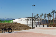 GANGNEUNG, SOUTH KOREA - JANUARY, 2017: Gangneung Ice Arena. For the Olympic Games 2018 in Pyeongchang Royalty Free Stock Photo