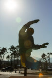 GANGNEUNG, SOUTH KOREA - JANUARY, 2017: Statue snowboarder. Near interactive pavilion `2018 Pyeongchang House Royalty Free Stock Photo