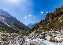 Gangotri Valley. The Ganges river flowing down the Gangotri valley in Uttarakhand India Royalty Free Stock Photo