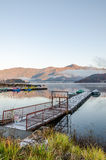 Gangplank at Lake Kawaguchi Stock Photo