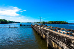 Gangplank. A small dock or gangplank over the sea on mangrove forest and blue sky background Stock Photo