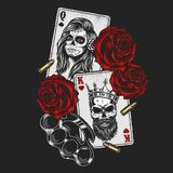 Gangsta concept with playing card. Roses and knuckles. Vector illustration royalty free illustration