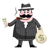 Cartoon Gangster isolated money cigar fat Stock Photography