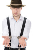 Gangster. Police law steel handcuffs arrest crime human hand Royalty Free Stock Photo