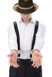 Gangster. Police law steel handcuffs arrest crime human hand Royalty Free Stock Image