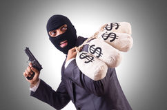 Gangster with bags of money Royalty Free Stock Photo