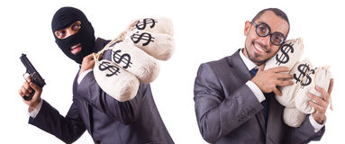 The gangster with bags of money on white. Gangster with bags of money on white Stock Images