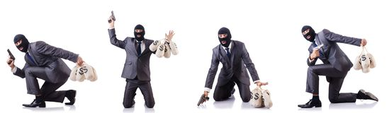 The gangster with bags of money on white. Gangster with bags of money on white Royalty Free Stock Image