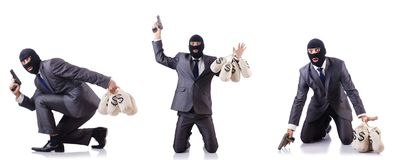 The gangster with bags of money on white. Gangster with bags of money on white Royalty Free Stock Photos