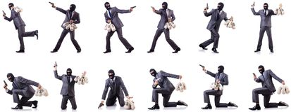 The gangster with bags of money on white. Gangster with bags of money on white Royalty Free Stock Images