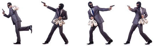 The gangster with bags of money on white. Gangster with bags of money on white Royalty Free Stock Photography