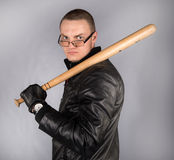 Gangster with a bat Royalty Free Stock Image