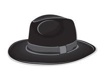 Gangster black hat sui precedenti bianchi Fotografia Stock Libera da Diritti
