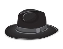 Gangster black hat on the white background Royalty Free Stock Photography