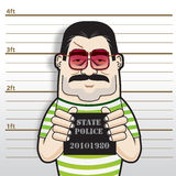 Gangster Boss Busted. An illustration of a gangster boss busted and taken mugshot in a police station vector illustration