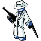 Gangster Character. Blue gangster character holding a machine gun Stock Image