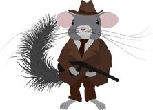 Gangster chinchilla.Mafia chinchilla dressed in retro style, vintage look. Stock Images
