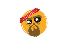 Gangster Chinese Emoticon with Red scarf on head  on white for Mobile and Web Stock Images