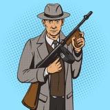 Gangster con il vettore di stile di Pop art della mitragliatrice Fotografie Stock Libere da Diritti