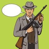 Gangster con il vettore di stile di Pop art della mitragliatrice Immagini Stock Libere da Diritti