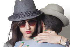 Gangster couple hugging closeup Royalty Free Stock Photography