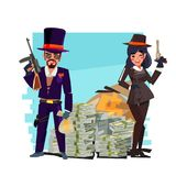 Gangster couple with money stact - vector vector illustration