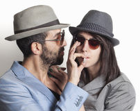 Gangster couple smoking Royalty Free Stock Photo
